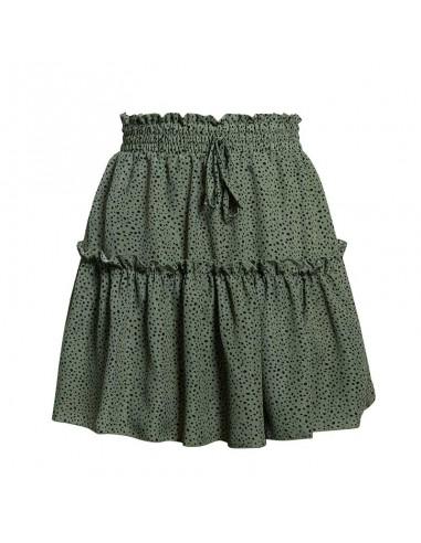 Falda Boho verde puntos negros