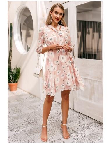Vestido rosa palo y flores