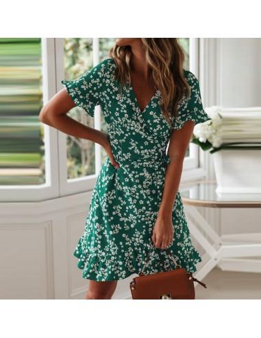 Green Boho dress with flowers