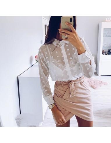 Blusa chifón blanca con puntos