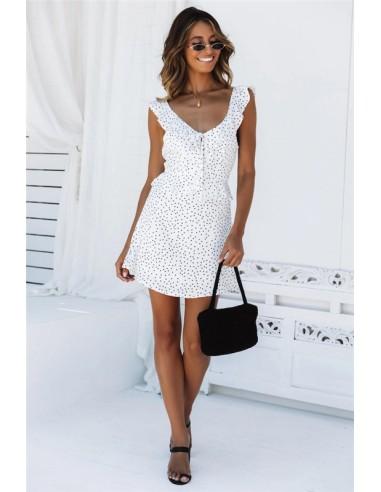 Vestido blanco puntos negros