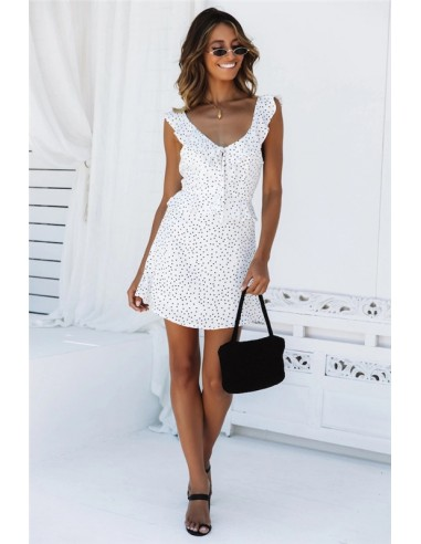 White dress with black dots